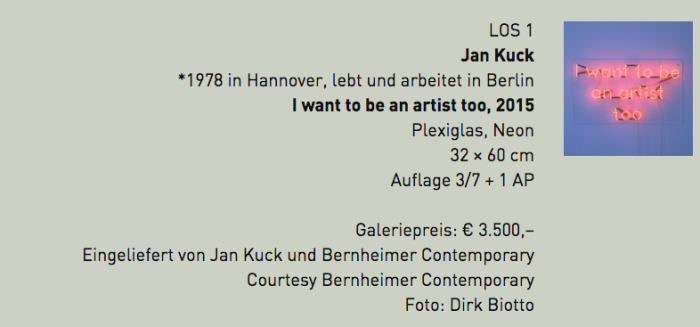Jan Kuck - PIN Auktion 201 - I want to be an artist too