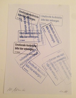 """""""Emotionen"""" . 29,7 x 21,1 cm . Stempel auf Papier . Edition von 88 . 2018 . Preis inkl. MwSt: 200,- Euro"""