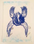 """""""Flügel Deiner Seele"""" . 42 x 30 cm . Siebdruck, Aquarell und Stempel auf Büttenpapier . Ed. von 26 . 2015 . 1.600,- Euro"""