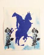 """""""Sich selbst reitende Pferde"""" . 20 x 16,5 cm . Lithografie, Aquarell und Stempel auf handgeschöpftem Büttenpapier . Ed. von 30 Einzelstücken . 2018 . 1.200 Euro"""